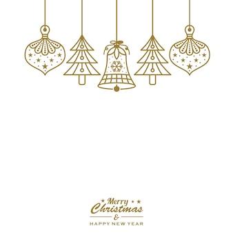 Adornos navideños adornos colgantes de oro vector