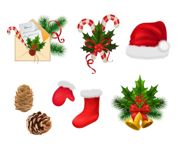 Adornos navideños aislados sobre fondo blanco.