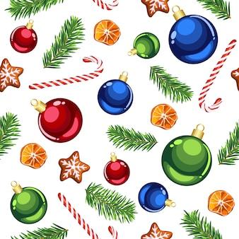 Adornos navideños y bastones de caramelo de patrones sin fisuras