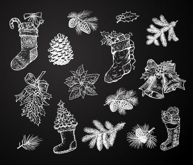 Adornos navideños, decoraciones tiza dibujo iconos aislados