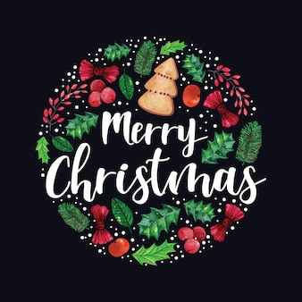 Adornos navideños decorativos de forma redonda en acuarela ilustración