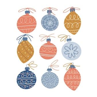 Adornos navideños en el estilo escandinavo conjunto de adornos navideños dibujados a mano decoración elemento aislado ...