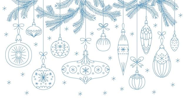 Adornos navideños en estilo retro. ilustración de vector lineal dibujado a mano aislada sobre fondo blanco. banner festivo, tarjeta, impresión, póster y otro diseño.