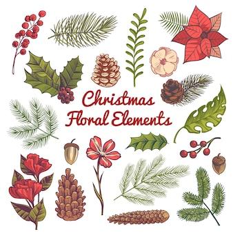 Adornos navideños de flores, elementos de acuarela con ramas de plantas y bayas tradicionales vintage