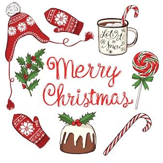 Adornos navideños, guantes y gorro de invierno de punto, bebida caliente, pastel y piruleta