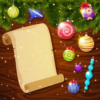 Adornos navideños y hoja de papel