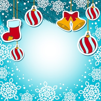 Adornos navideños sobre fondo azul