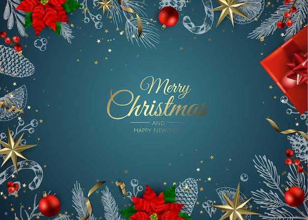 Adornos de oro fondo de navidad