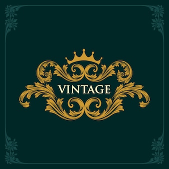 Adornos de oro vintage de corona