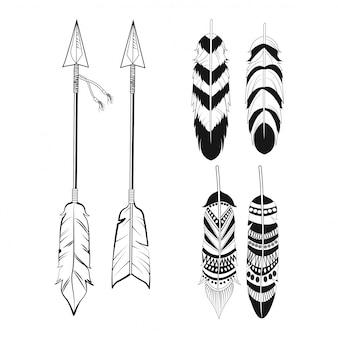 Adornos de plumas y flechas espirituales gratis