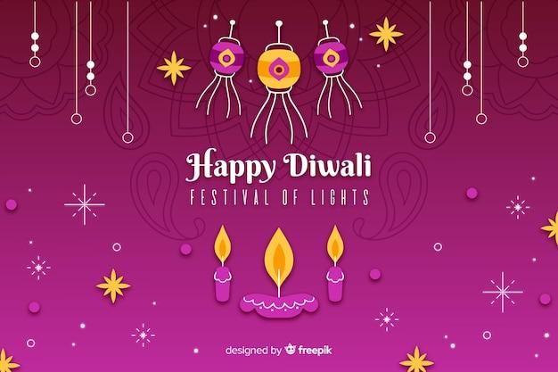 Adornos de vacaciones de diwali fondo dibujado a mano