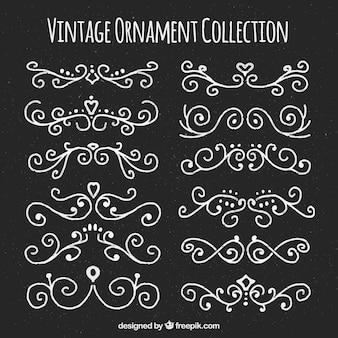 Adornos vintage dibujados a mano con estilo de pizarra
