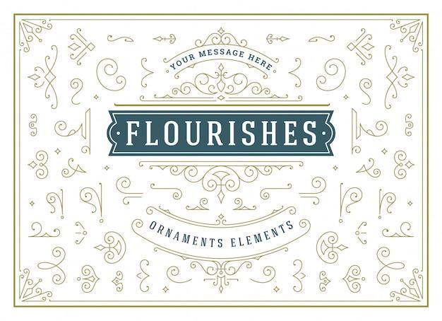 Adornos vintage remolinos y pergaminos decoraciones elementos de diseño conjunto de vectores, florecen adornados caligráficos
