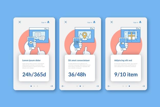 Adquiera la plantilla de pantallas de la aplicación de incorporación en línea
