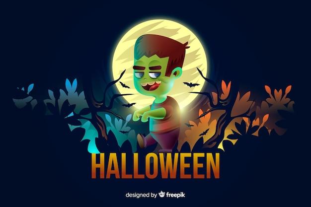 Adulto joven zombie en un bosque de fondo de halloween