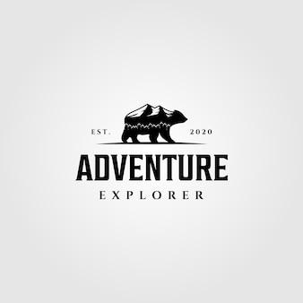 Adventure explorer mountain bear walk logo