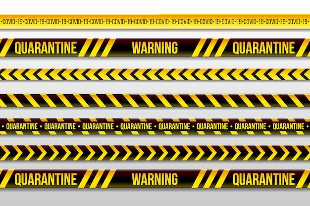 Advertencia cuarentena rayas y quedarse en casa