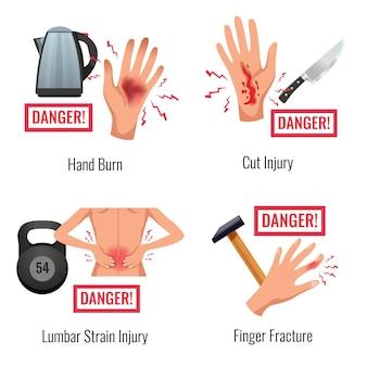 Advertencia de lesiones de partes del cuerpo humano 4 composiciones planas que se queman a mano fractura de dedo deformación de la madera