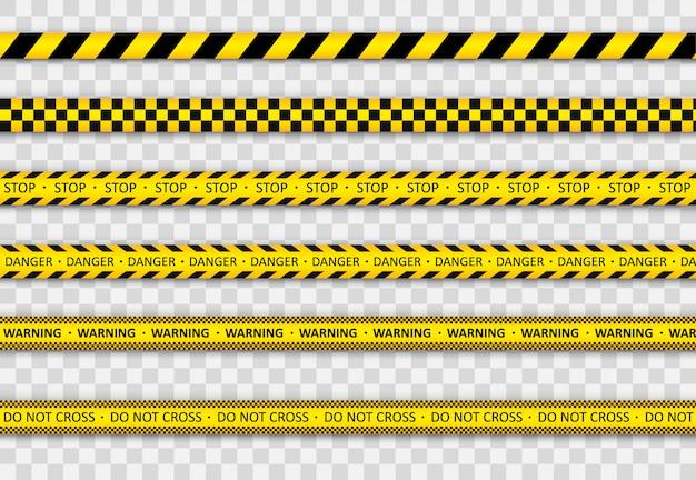 Advertencia línea de rayas negras y amarillas.
