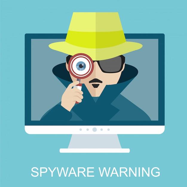 Advertencia de seguridad de internet y spyware con detective