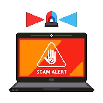 Advertencia sobre alerta de estafa de pantalla de computadora portátil. ilustración vectorial plana.