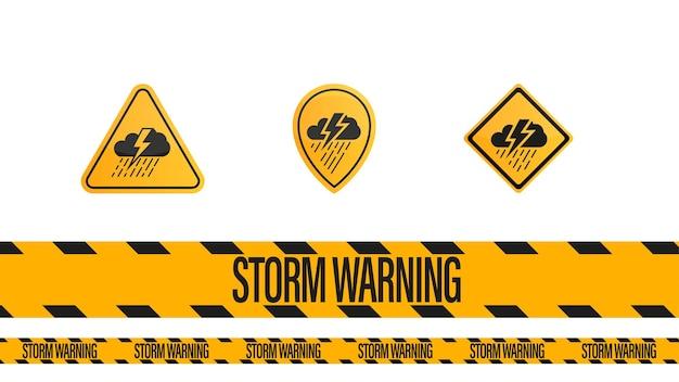Advertencia de tormenta, cinta de advertencia amarilla - negra y símbolos de advertencias meteorológicas aisladas sobre fondo blanco.