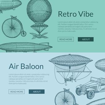 Aeronaves, bicicletas y coches dibujados a mano.