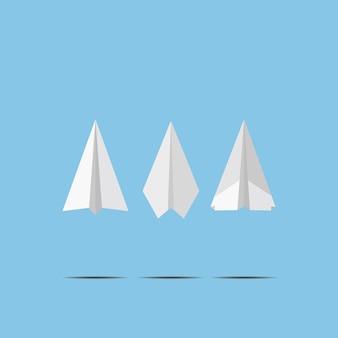 Aeroplanos del libro blanco que vuelan en la pared del cielo azul. diseño artesanal estilo origami, simplemente ilustración gráfica de vector