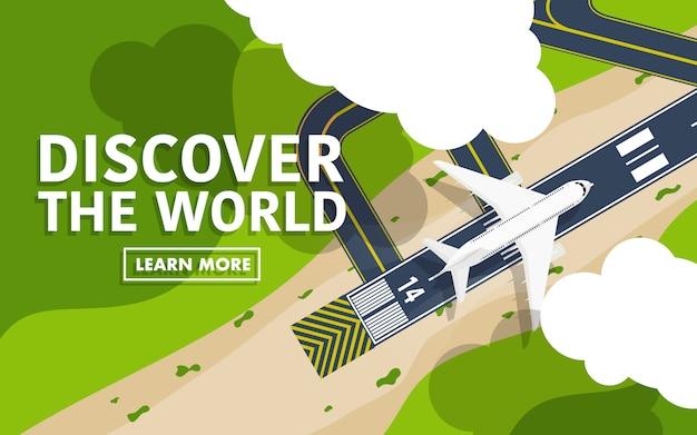 Aeropuerto de arriba hacia abajo vista con avión