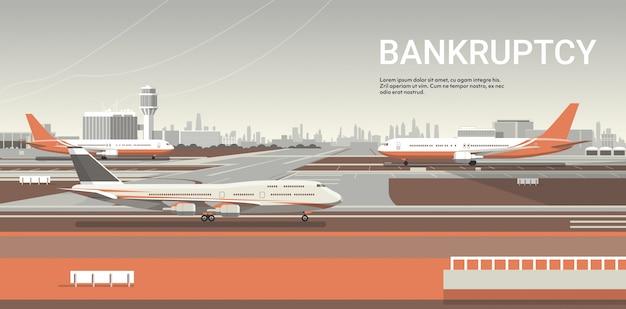 Aeropuerto con aviones estacionados coronavirus pandemia concepto de cuarentena