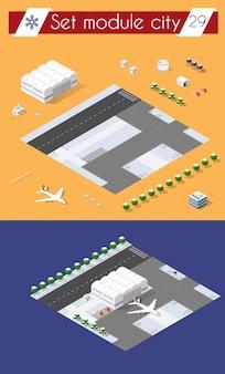 Aeropuerto de la ciudad con transporte.