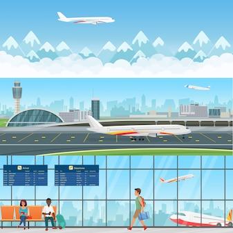 Aeropuerto detallados banners horizontales. sala de espera en terminal con pasajeros personas. concepto de viaje volando aviones con montañas en las nubes.