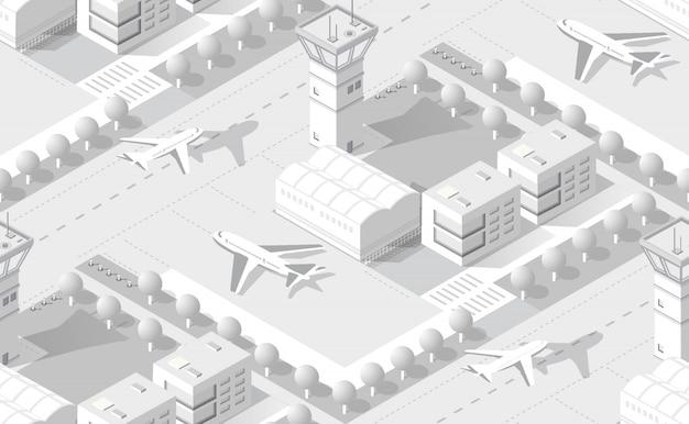 Aeropuerto isométrico blanco