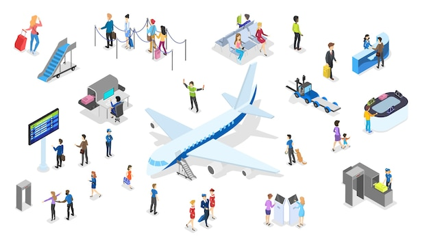 Aeropuerto con juego de pasajeros. check in y seguridad, sala de espera y registro. las personas con pasaporte miran el horario. concepto de viajes y turismo. ilustración isométrica