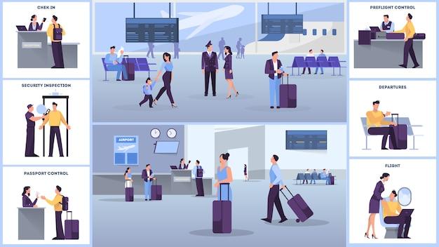 Aeropuerto con juego de pasajeros. check in y seguridad, sala de espera y registro. las personas con pasaporte miran el horario. concepto de viajes y turismo. ilustración