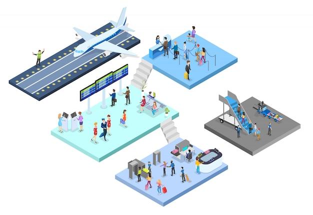 Aeropuerto con juego de pasajeros. check-in y seguridad, sala de espera y registro. las personas con pasaporte ven el horario. concepto de viajes y turismo. ilustración isométrica