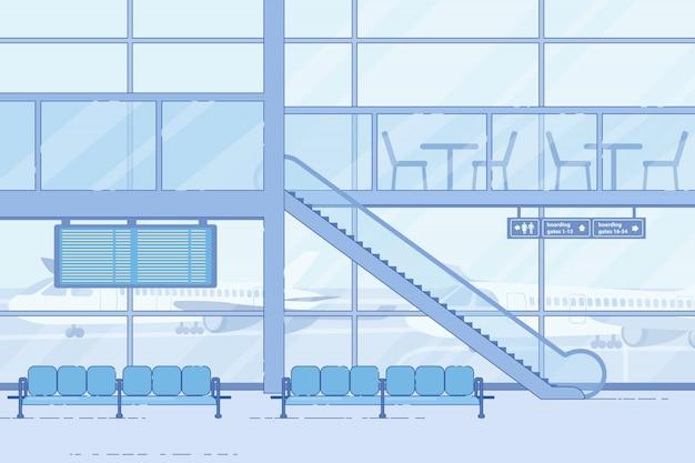 Aeropuerto moderno que espera, zona de salón en estilo plano