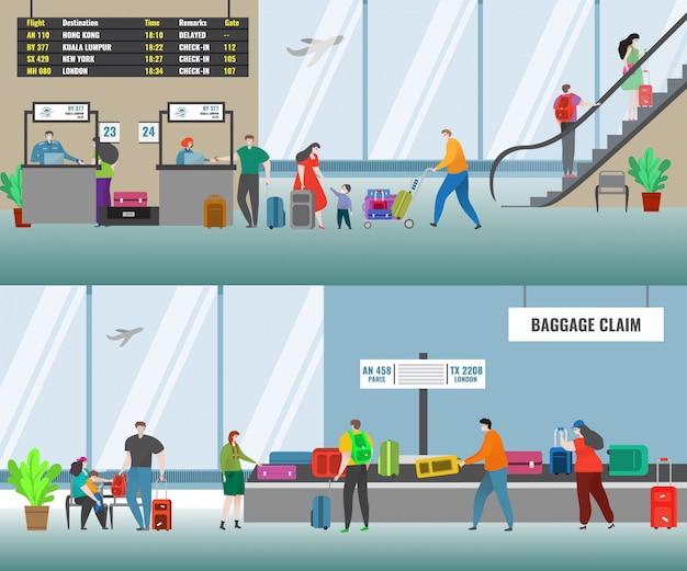 Aeropuerto con mostrador de facturación de vuelos de la aerolínea y personas en el área de reclamo de equipaje. terminal del aeropuerto.