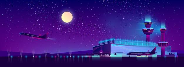 Aeropuerto de noche en colores ultravioleta, fondo.
