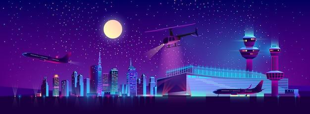 Aeropuerto de noche vector con avión y helicóptero.