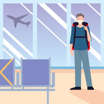 Aeropuerto nuevo viajero normal, hombre solitario con mascarilla con equipaje