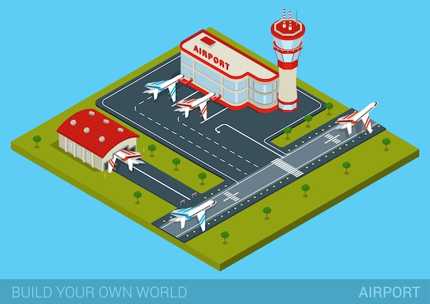 Aeropuerto plano d concepto de infografía isométrica web