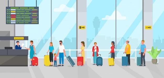 El aeropuerto se registra en el mostrador de registro y los pasajeros de la gente hacen cola ilustración