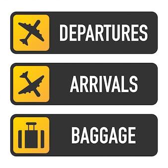 Aeropuerto señales de salida, llegadas y equipaje.