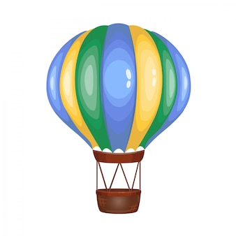 Aerostato rayado multicolor de dibujos animados lindo