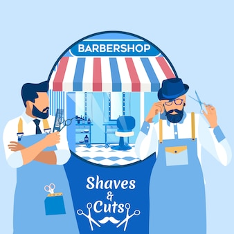 Afeitado y cortes banner con cool hipster men.