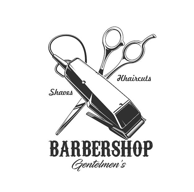 Afeitadora de peluquería y tijeras vector icono de peluquería, corte de pelo y salón de afeitado de barba. herramientas cruzadas de caballeros peluquero o barbero, insignia aislada de maquinilla de afeitar eléctrica, recortadora y tijeras