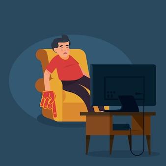 Aficionados al deporte que se duermen frente al televisor.