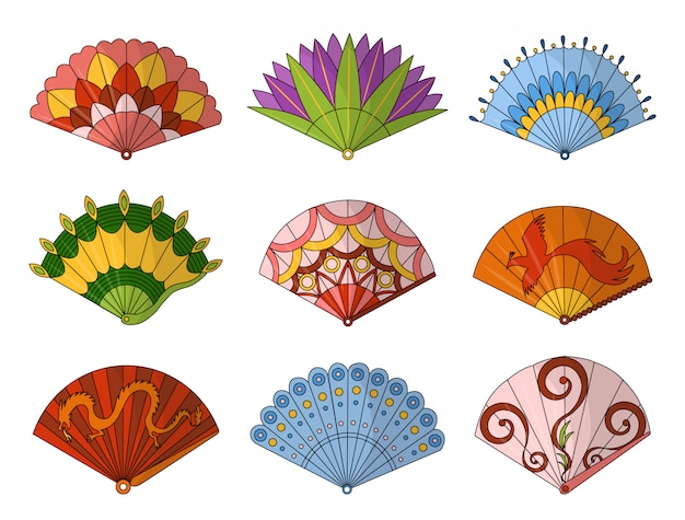 Aficionados asiáticos. sistema coloreado del ventilador tradicional de la mano aislado en el fondo blanco, ventiladores plegables de papel de la pintura en estilo web. whisky decorativo para hombre y mujer.