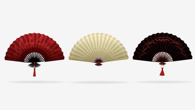 Aficionados elegantes asiáticos. hermoso estilo chino, japonés en colores rojo, blanco y negro.